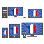 Electronic devices with the map of France — Stock Vector