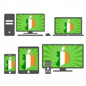 Electronic devices with the map of Ireland — Stock Vector