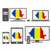 Electronic devices with the map of Romania — Stock Vector
