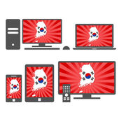 Electronic devices with the map of South Korea — Stock Vector