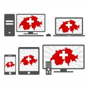 Electronic devices with the map of Switzerland — Stock Vector