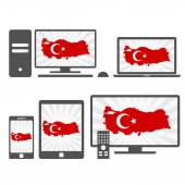 Electronic devices with the map of Turkey — Stock Vector