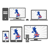 Electronic devices with the map of United Kingdom — Vector de stock