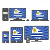Electronic devices with the map of Uruguay — Stock Vector