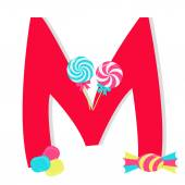 """Letter """"m"""" from stylized alphabet with candies — Vecteur"""