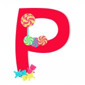 """Letter """"p"""" from stylized alphabet with candies — Vecteur"""