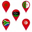 Map pin icons of national flags of african countries — Stock Vector #52918143
