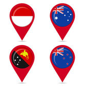 Map pin icons of national flags of countries Australis — Stock Vector