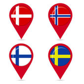 Map pin icons of national flags of Scandinavian countries — Stock Vector