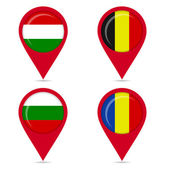 Map pin icons of national flags of some European countries — ストックベクタ