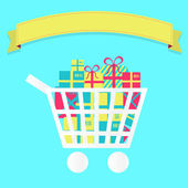 Shopping cart full of packages — Stock Vector