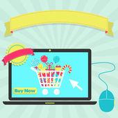 Buy candies online through laptop — Stock Vector