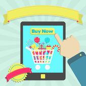 Buy candies online through tablet — Stockvector