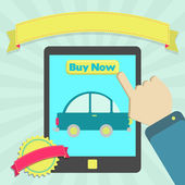 Koupit auto online prostřednictvím tablet — Stock vektor