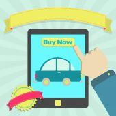 Comprar carro online através de tablet — Vetorial Stock