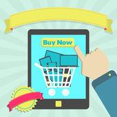 Buy electronic equipment through tablet — Stockvector