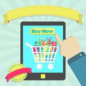 купить онлайн через планшет — Cтоковый вектор