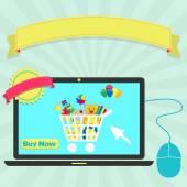Buy toys online through laptop — Stockvector