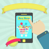 Buy candies online through phone — Vettoriale Stock