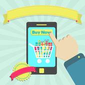 Acheter en ligne par téléphone — Vecteur