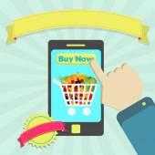 Buy shopping cart full of fruits — Stock Vector