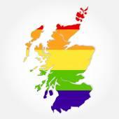 Rainbow flag in contour of Scotland — Stock Vector