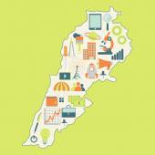 Map of Lebanon with technology icons — Vector de stock