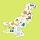Map of Pakistan with technology icons — Stock Vector