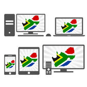 Electronic devices with the map of South Africa — 图库矢量图片
