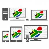 Electronic devices with the map of South Africa — Vector de stock