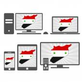 Electronic devices with the map of Syria — Stock Vector