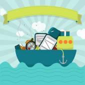 Cargo ship with waste — Stock Vector