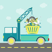 Garbage container truck — Stock Vector