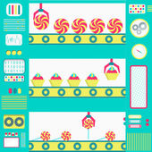Series production of sweets — Vector de stock