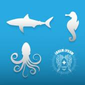 Graphic set of various sea animals contours — Stock Vector