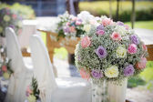 Wedding Chair Covers and Bouquet — Stock Photo