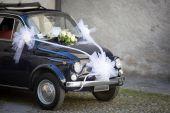Wedding Day: Vintage Italian Car  — Stock Photo