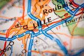 Lille City on a Road Map — Stock Photo
