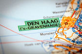 Den Haag City on a Road Map — Stock Photo