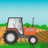 Rural landscape with orange  tractor — Stock Vector