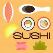 Sushi set flat disign — Stock Vector