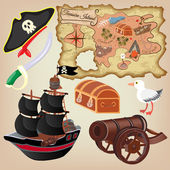 Set of pirate attributes — Stock Vector
