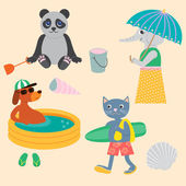Panda, Dog, Cat and Elephant on the beach. — Stock Vector
