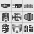 Buildings web sticker icons set — Stock Photo #52229203