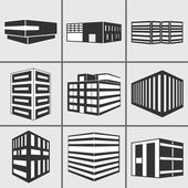 Buildings web sticker icons set — Stock Photo