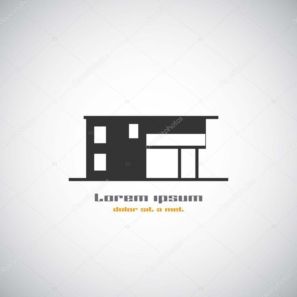 Arquitectura abstracta construcci n de plantilla de dise o de logotipo de silueta vector icono - Homes logo designs ...