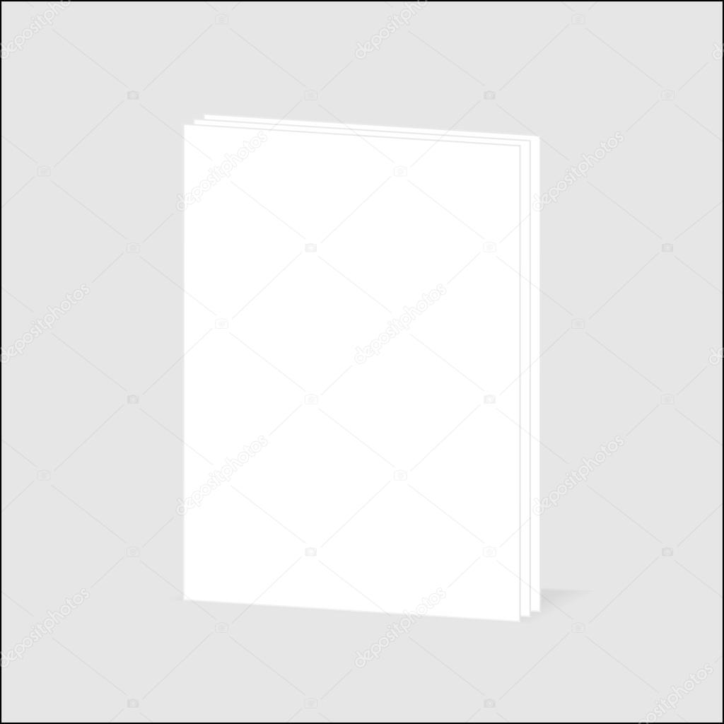 blank vertical book cover template pages in front side blank sheet of paper page curl and shadow design element for advertising and promotional message isolated on white background
