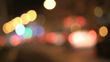 Night lights city blurred traffic — Stock Video