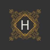 Flourishes calligraphic monogram emblem — Stock Vector