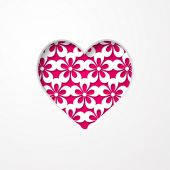Greeting card with a floral pattern and a heart — Stock Vector